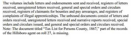 Freedmen's Bureau Records Description NC