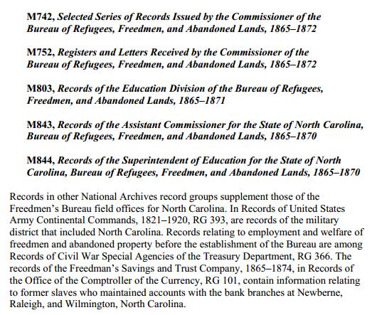 Related Freedmens Bureau Records NC