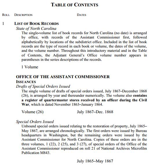 Table of Contents NC Freedmens Bureau Records