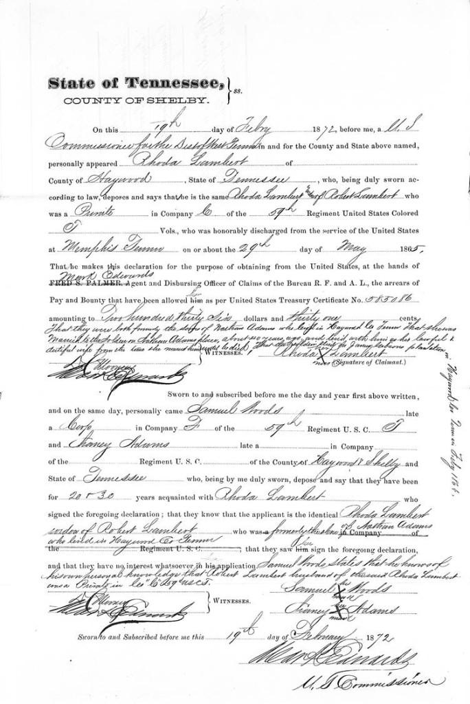 Lambert Rhoda Affidavit of Identity Memphis TN Slaveholder Listed